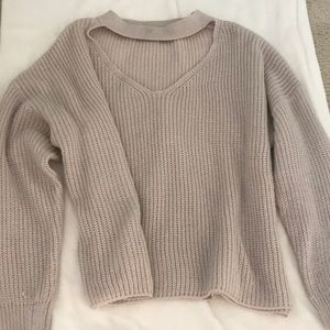 Neck strap cut out sweater
